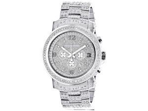 Fully Iced Out Large Genuine Diamond Watch for Men by Luxurman Escalade 3.5ct w Chronograph