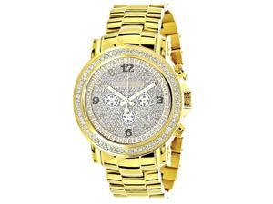 Iced Out Luxurman Large Diamond Bezel Watch for Men 18k Yellow Gold Plated Metal Band & Chronograph 2.5Ct