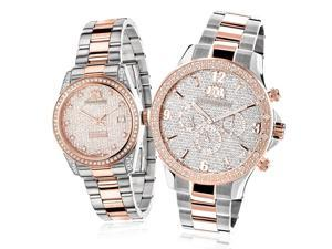 Matching His and Hers Watches: Luxurman 18k White & Rose Gold Plated Diamond Watch Set Swiss Mvt 1.7ct