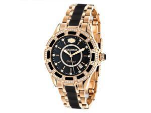 Diamond Mens & Womens Black Ceramic Watches Rose Gold Pltd Luxurman Galaxy Swiss Mvt Watch