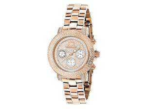 Oversized Ladies Diamond Watch Rose Gold Plated Swiss Mvt Iced Out Luxurman Montana