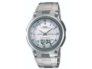 Mns 30Pg Databank Analog Watch Ana Digi Chrono Wht Dial w/SS Brclt 50m WR