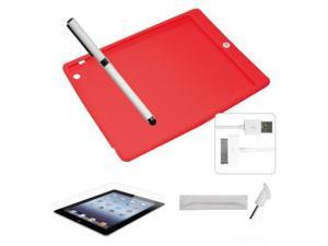 [CASE4U] Apple iPad 4 Silicon case -Red (Colorful home button) + Screen Skin + Anti-dust Cap + Stylus + USB Cable