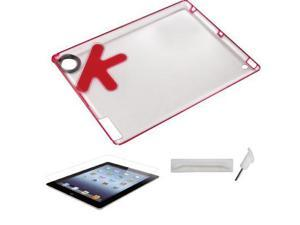 [ZIYA] iPad-4 Plastic case -Red (portable case) + Screen Skin + Anti-dust Cap Kit