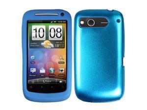 [CASE4U] HTC Desire-S Metal Case- Blue (Silicon inner)+ Screen Protector Skin