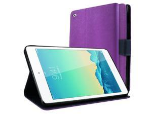Apple iPad Mini 4 Case, [Purple/ Navy] Luxury Faux Leather Saffiano Texture Front Flip Cover Diary Wallet Case w/ Magnetic Flap