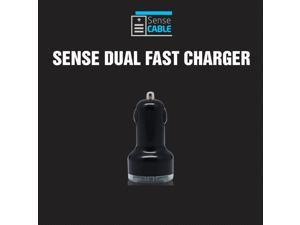 Universal Dual USB Port Car Charger Adapter (1a & 2.1a) - Black