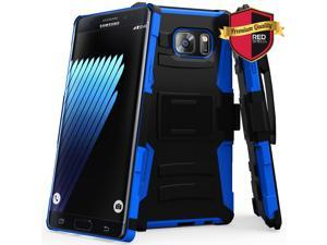 SAMSUNG GALAXY-NOTE-7 Holster Case, [BLUE] Heavy Duty Dual Layer Hybrid Holster Case with Kickstand and Belt Clip