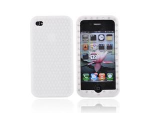 White Gems Rubber Skin Case Cover For Apple Verizon AT&T iPhone 4 4S
