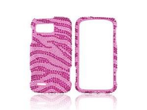 Hot Pink Zebra Baby Pink Gems Bling Hard Plastic Case Snap On Cover W Crowbar For Motorola Atrix 2