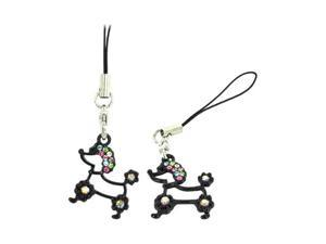 Black Poodle Cellphone Charm Strap W Multi Colored Embedded Gems