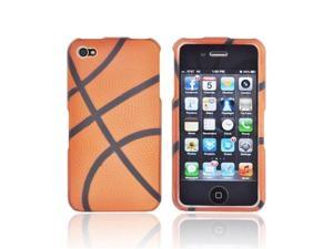 AT&t/ Vzw Apple Iphone 4, Iphone 4s Rubberized Plastic Snap On Cover - Orange/ Black Basketball