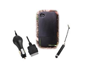 Eco-design iPhone 4/4S Black Sonokeling Wood Hard Sliding Case Combo W/Screen Protector, Extendable Stylus & Car Charger
