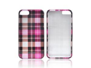 Apple iPhone 5 Case, [Pink Plaid Pattern] Slim & Protective Crystal Glossy Snap-on Hard Polycarbonate Plastic Case Cover