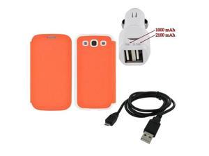 Galaxy S3 Combo W/Orange/White Snazzy Leather Diary Case W/Card Slot & Trident Dual USB Car Charger W/Micro USB Data Cable