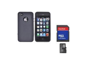 Rearth Combo W/iPhone 4s Steel Black Silicone Case W/Steel Bumper, Lanyard, LCD Protector & 8GB Micro SDHC Memory Card & Adapter
