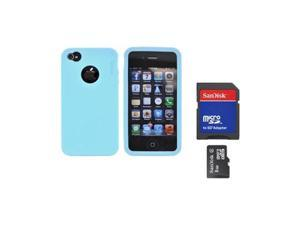 Oem Rearth Combo W/Apple Iphone 4s Ringke Sky Blue Rubbery Silicone Case & 8gb Micro SDHC Memory Card W/SD Card Adapter