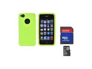 Oem Rearth Combo W/Apple Iphone 4s Ringke Lime Green Rubbery Silicone Case & 8gb Micro SDHC Memory Card W/SD Card Adapter