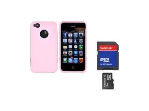 Rearth Combo W/iPhone 4s Steel Pink Silicone Case W/Steel Bumper, Lanyard, LCD Protector & 8GB Micro SDHC Memory Card & Adapter