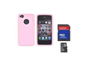 Oem Rearth Combo W/Apple Iphone 4s Ringke Baby Pink Rubbery Silicone Case & 8gb Micro SDHC Memory Card W/SD Card Adapter