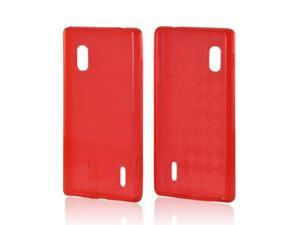 Red Argyle Crystal Rubbery Feel Silicone Skin Case Cover For LG Optimus G (AT&t)
