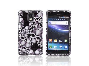 Slim & Protective Hard Case for Samsung Infuse i997 - Silver Skulls on Black