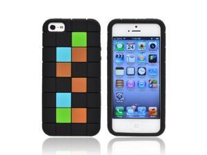 Apple Iphone 5 Rubbery Feel Silicone Skin Case Cover - Green/ Blue/ Brown Blocks On Black