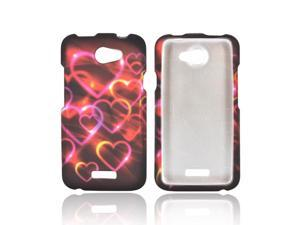 HTC One X Rubberized Hard Plastic Case Snap On Cover - Pink/ Gold Hearts On Espresso Brown