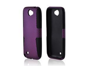 Samsung Galaxy Note 2 Rubberized Hard Plastic Case Snap On Cover Over Silicone - Purple Mesh On Black