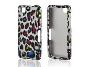 Rainbow Leopard On Silver Rubberized Hard Plastic Case Snap On Cover For Blackberry Z10