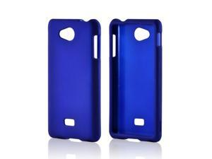 Blue Rubberized Hard Plastic Case Snap On Cover For LG Spirit 4g