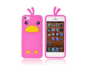 iPhone 5 Case, [Hot Pink] Slim & Flexible Anti-shock Matte Reinforced Silicone Rubber Protective Skin Case Cover for