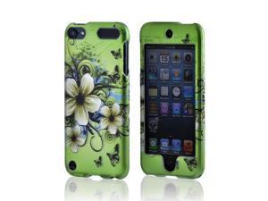 Apple iPod Touch 5 Rubberized Hard Case - White Hawaiian Flowers on Green