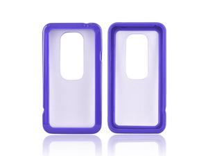 Clear Hard Back Case Cover w Purple Silicone Gummy Border For HTC Evo 3D