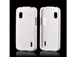 White Rubberized Hard Plastic Case Snap On Cover For LG Nexus 4