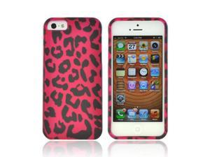Apple Iphone 5 Rubberized Hard Plastic Case Snap On Cover - Hot Pink/ Black Leopard