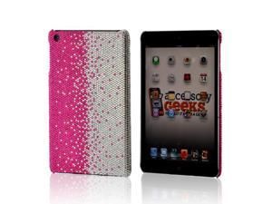Hot Pink/ Silver Gems Bling Hard Plastic Case Snap On Cover For Apple Ipad Mini