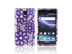 Slim & Protective Hard Case for Samsung Infuse i997 - Purple Flowers on Silver