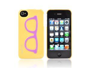 AT&T/ Verizon Apple iPhone 4  iPhone 4S Hard Case - Purple Geek Glasses on Yellow
