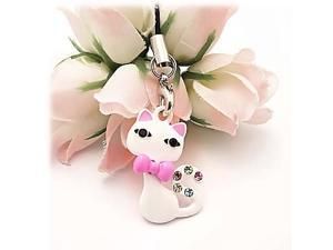 Bow Tied Cat W/ Multi Colored Gems  Cellphone Charm/strap - White