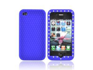 Apple Verizon/ AT&T iPhone 4  iPhone 4S Silicone Case w/ Embedded Gems - Blue