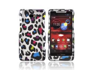 Motorola Droid RAZR M Rubberized Hard Plastic Case Snap On Cover - Rainbow Leopard On Silver