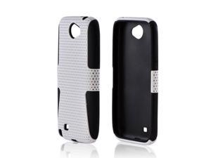 Samsung Galaxy Note 2 Rubberized Hard Plastic Case Snap On Cover Over Silicone - White Mesh On Black
