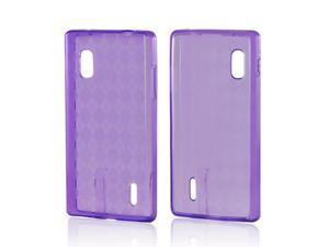 Purple Argyle Crystal Rubbery Feel Silicone Skin Case Cover For LG Optimus G (AT&t)