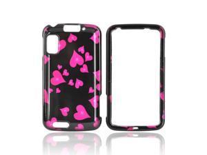 Slim & Protective Hard Case for Motorola Atrix 4G - Raining Pink Hearts on Black