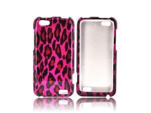 Slim & Protective Hard Case for HTC One V - Hot Pink / Black Leopard