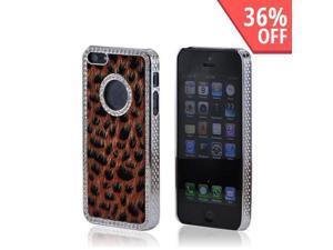 Apple iPhone 5 Faux Fur Hard Case w/ Bling - Burnt Orange/ Black Leopard