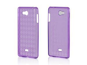 Argyle Purple Crystal Rubbery Feel Silicone Skin Case Cover For LG Spirit 4g