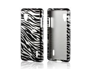 Slim & Protective Hard Case for LG Optimus G (Sprint) - Silver / Black Zebra