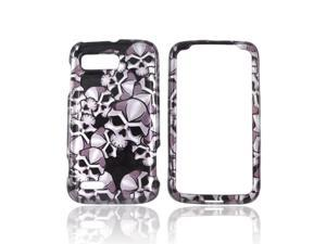 Slim & Protective Hard Case for Motorola Atrix 2 - Silver Skulls on Black
